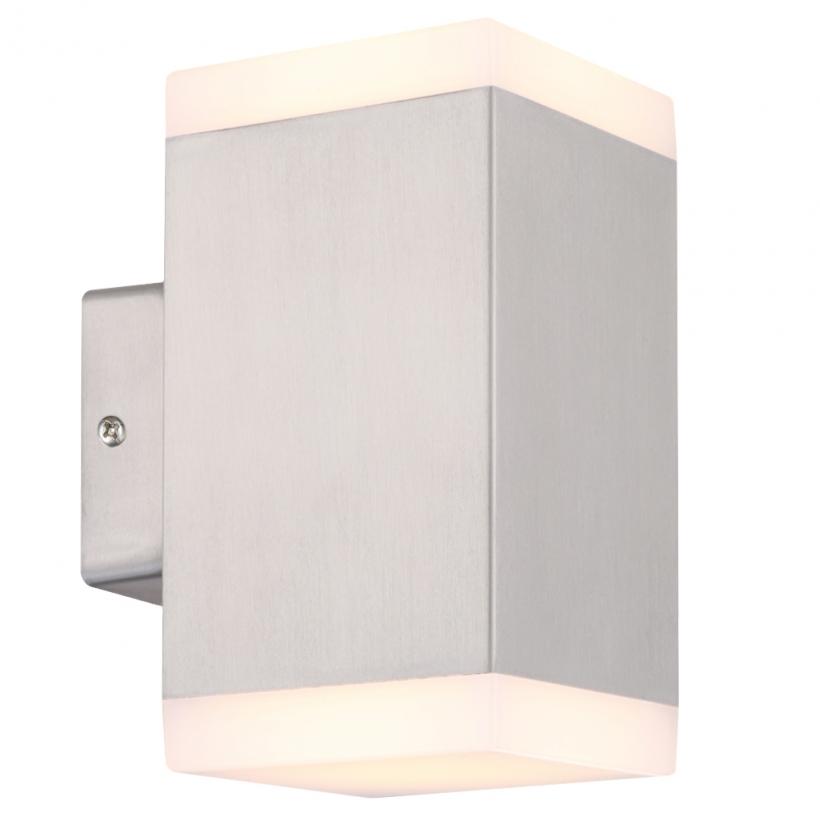 ... 230V LED Wandstrahler, 2 Flammig, Außenleuchte, Außenlampe, Edelstahl,  IP44, 230V