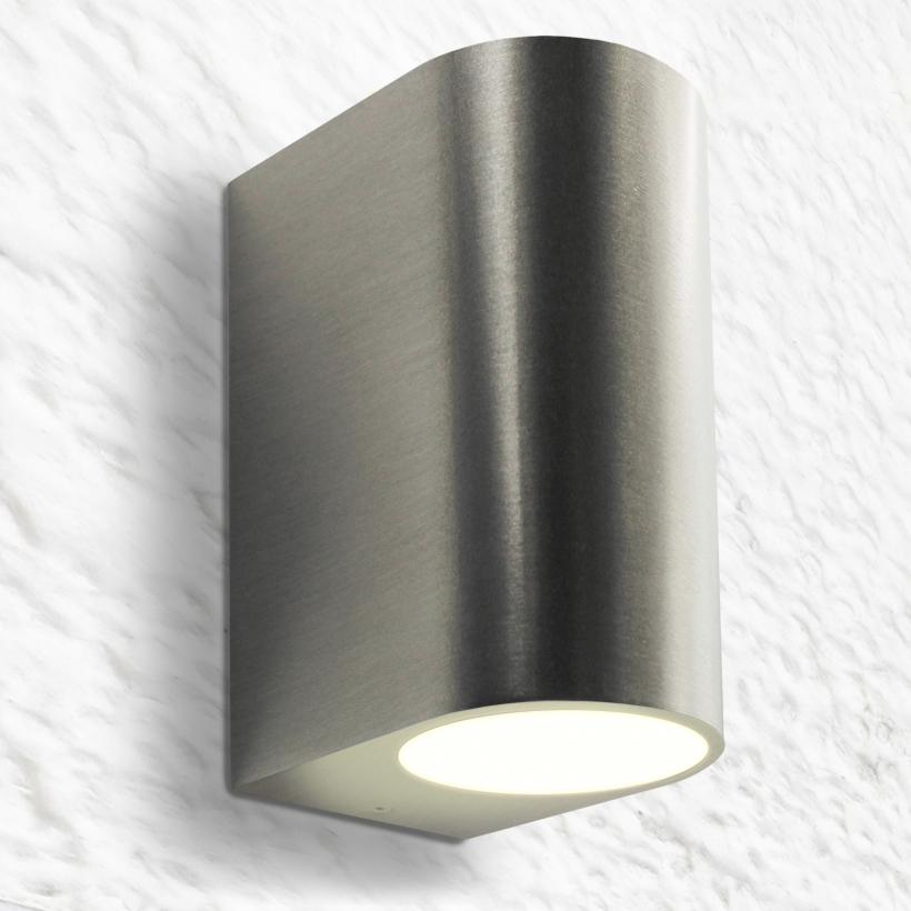 led wandleuchte wandlampe au enleuchte aluminium 2 flammig edelstahl geb gu10 230v form c. Black Bedroom Furniture Sets. Home Design Ideas