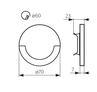 Turbo LED Treppenlicht rund warmweiß 12V/230V XD75