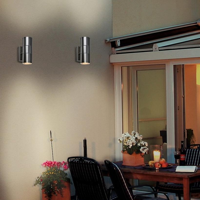 led wandleuchte rom wandlampe au enleuchte 2 flammig edelstahl up down gu10 230v form a1. Black Bedroom Furniture Sets. Home Design Ideas