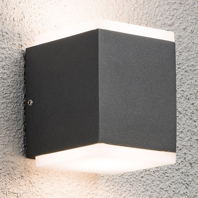 led wandleuchte cube anthrazit au enleuchte innenleuchte wandlampe alu ip54 230v ebay. Black Bedroom Furniture Sets. Home Design Ideas